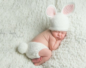 Baby Bunny outfit - Crochet Bunny Hat Diaper Cover - Baby animal hat - newborn photo prop - crochet baby set - character hat - Easter Outfit