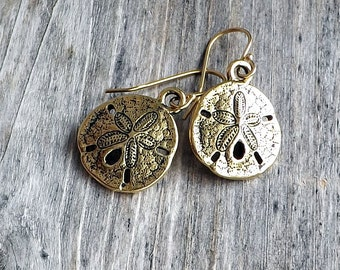 Gold sand dollar earrings / Gold plated beach earrings / Beach girl earrings
