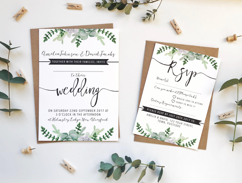 Succulents Wedding Invitation Bundle Printed SAMPLE Wedding ...