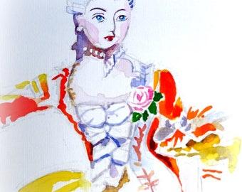 Historiche mode. Vrouw in gele jurk. Aquarel.