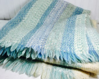 Vintage blanket, textile,bedding, throw, baby blanket, picnic blanket,country decor,mohair, blue, cream, baby shower, gift, vintage throw