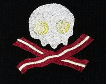 Skull Bacon and Eggs Kitchen Dish Towel