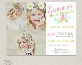 Summer Mini Session Template - Photography Marketing Boadr Template 082 - C274, INSTANT DOWNLOAD