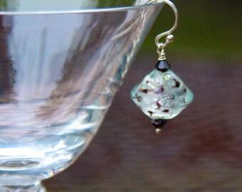 Lampwork Glass Earrings - Crystal Earrings - Silver Glass Earrings - Brown Glass Earrings - Glass Bead Earrings - Swarovski Crystal Earrings