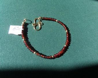 Garnet bracelet 14k gold filled red brown item 969
