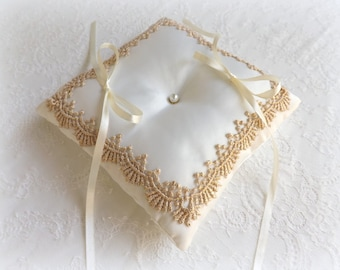 Ring Bearer. Ivory wedding ring pillow decorated with gold lace. Cushion ring.