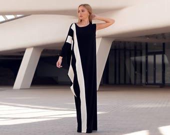Kaftan Dress, Maxi Dress, Black White Dress, Plus Size Clothing, Long Dress, Asymmetrical Dress, Dress, Plus Size, Black Dress, Markiiza