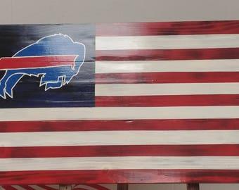Wooden Buffalo Bills Flag