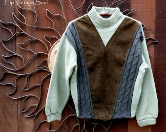 Vintage Wool/Suede Men's Sweater, Vintage Cascade Men's Sweater, Retro Men's Wear, Mid Century Men Sweater