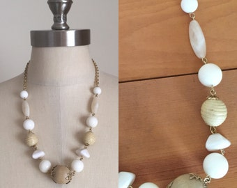 Vintage Style Beige and White Plastic Bead and Wood Necklace