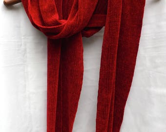 Ruby Red Handwoven Chenille Scarf for Men or Women