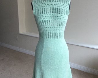 Crocheted Knit Form Fitting Dress 1970