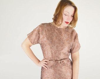 50s Sparkling Brown Brocade Sheath Dress M