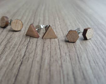 Geometric stud earrings - triangles, circles, and hexagons.