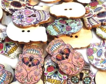 Mixed Sugar Skull Buttons, Day of the Dead Buttons, Scrap Booking Buttons, Wooden Buttons, Día de Muertos - Pack of Ten