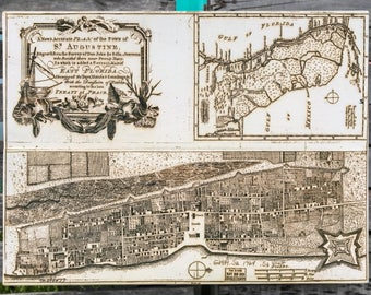 Plan for Saint Augustine 1764 - Wood Burned Map