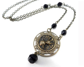 Antique Button Necklace, Victorian Button Jewelry, Black Midnight Blossom Victorian Revival Pendant, Brass