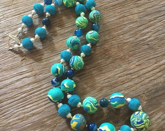 Atlantis - Multiple Hues of Blue Handmade Statement Necklace