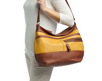 SALE - Leather hobo handbag  - Soft leather purse - Crossbody hobo bag -  SOLIN
