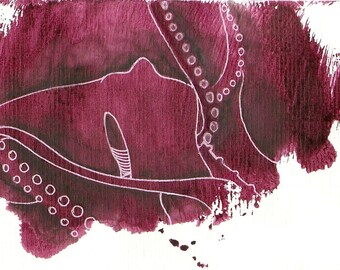 "Octopus Painting - Unkind Octopus - Fine Art Giclee Print 8/50 of 6""x4"" Burgundy Painting"