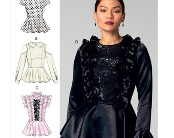 McCall's Pattern M7508 Misses' Peplum Tops with Ruffles or Peter Pan Collar