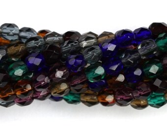 Czech Glass Beads Fire Polished Faceted Rounds 4mm Winter Mix (50) CZF328