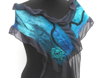 Turquoise Nuno Felted Silk and Merino Scarf Black Teal Turquoise Cobalt Blue