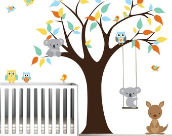 Children Vinyl Wall Decals tree decal with kangaroo, koala bear-nursery kids wall stickers-e90