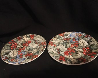 Vintage Coasters Gien Holly Design Set of Two with Box