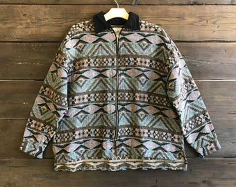Vintage 90s Navajo Print Zip-Up Jacket