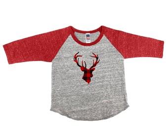 Plaid Deer Silhouette Infant Baseball Tshirt