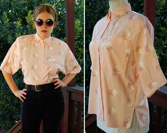 New WAVE 1980's Vintage Peachy Pink Button Down Shirt with Geometric Designs // by SOHO // size Small Medium