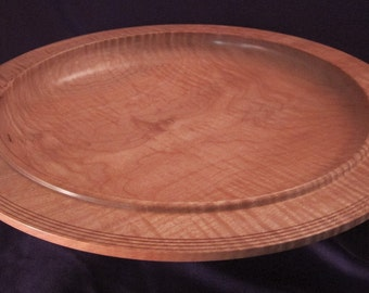 Large, Curly Fiddleback Maple, Centerpiece, Wooden, Lathe Turned Platter, Bowl, Handmade In Montana, Decor, Housewarming Gifts, Lady, 1274