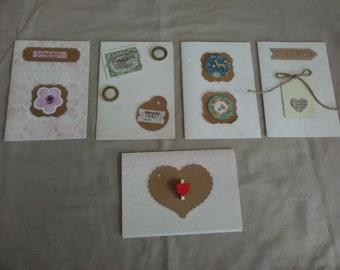 Set of five luxury handmade greeting cards