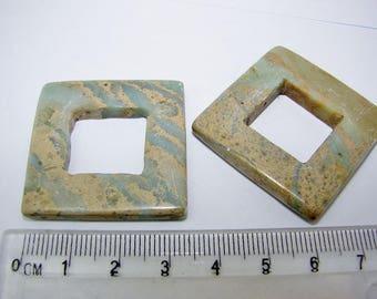 Jasper gemstones aqua terra square hole 35 x 35 mm