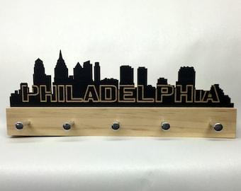 Philadelphia Skyline key holder wall mounted modern wood