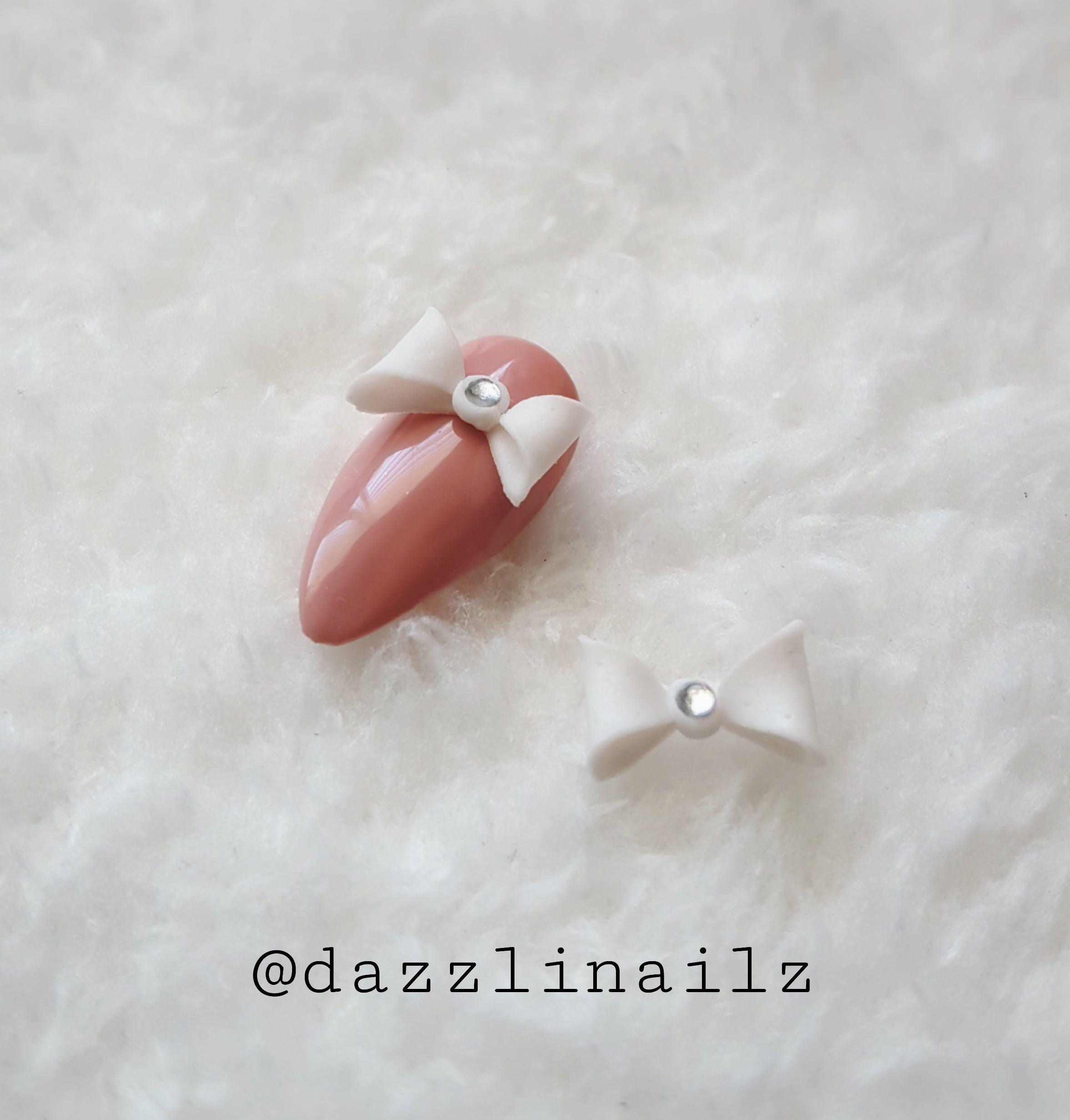 2pcs 10pcs Acrylic bows/Pink/White/Black/Nail charms/Nail decor/Nail ...