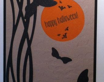 Handmade Happy Halloween Card Bats Haunting Moon