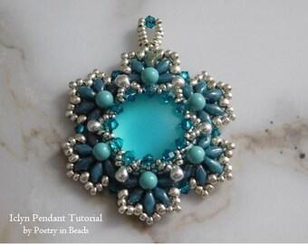 Beaded Pendant Pattern, Beading Tutorial, Jewelry, 18mm Lunasoft Cabochon, Superduo, Swarovski Bicone, Pearl, Seed Bead, Beadweaving, PDF