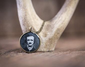 Edgar Allan Poe Necklace, Glossy Resin Charm