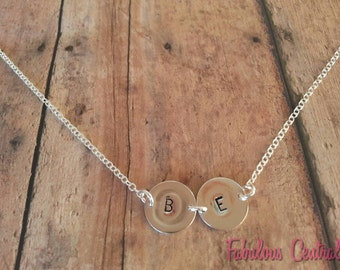 925 Thai Sterling Silver Initial Necklace,Two stamped discs,Hand Stamped Custom Necklace,Letter necklace,Best Friends friendship Sister Gift