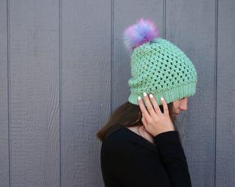 Granny Chic Pom Hat - crochet hat with furry pom - slouchy winter hat with pom pom - ready to ship