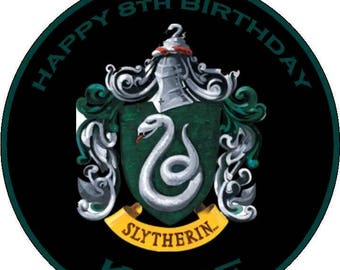 Slytherin Harry Potter style edible cake topper personalized