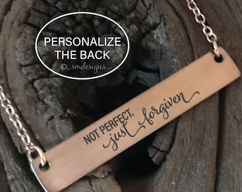 Not Perfect Just Forgiven Bar Necklace