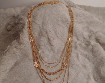 1970's Multi-Chain Necklace Signed Monet
