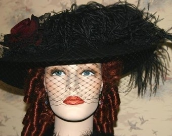 Black Kentucky Derby Hat, Titanic Tea Hat, Edwardian Hat - Lady Margaret