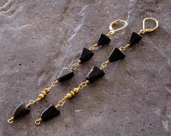 Black Onyx and gold pyrite bead Dangle Earrings