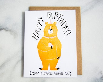 Happy Birthday Bear Letterpressed Card