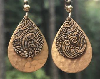 Art Deco earrings, Embossed, brass teardrop earrings, hammered metal earrings, lightweight, Art Deco jewelry