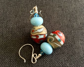 Red Lampwork Earrings, Glass Bead Jewelry, Unique Handmade Earrings, Blue Drop Earrings, Glass Bead Earrings, Beadwork Lampwork Jewelry
